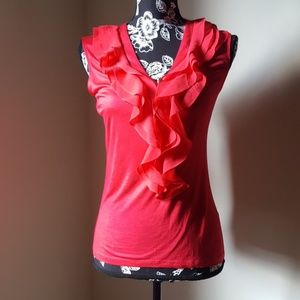 H&M Red Ruffle Sleeveless Blouse
